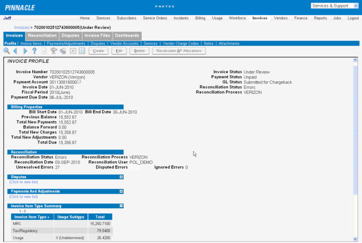 paetec Pinnacle Telecom Expense Management Screenshot 3
